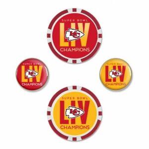 KANSAS CITY CHIEFS SUPER BOWL LIV CHAMPIONS 4 PIECE BALL MARKER SET NEW WINCRAFT