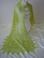 KID MOHAIR HANDKNITTED COBWEB LACE SHAWL/SKARF KIWI/LIME GREEN