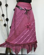 """NEU """"FOREVER"""" ITALY HERBST MOHAIR WOLLE STRICK MAXI ROCK BATIK BERRY 38 40 42"""