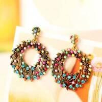Ethnic Boho Earrings Vintage Style Multicolor Beads Hollow Round Hoop Earrings A