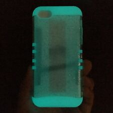 iPhone 5C - HARD & SOFT RUBBER HYBRID ARMOR CASE CLEAR GLITTER GLOW IN THE DARK