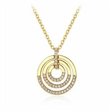 Circle Delicate Pendant With Swarovski Crystals Gold Plated