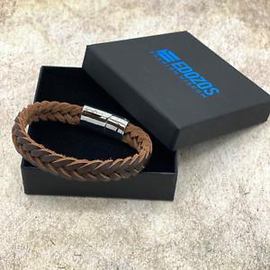Leather Men Genuine Handmade Bracelet Braided Wristband Stainless Steel Clasp