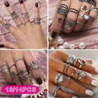 RING Set Boho Knuckle Rings Midi Elephant Gold Silver Fashion Thumb Finger UK