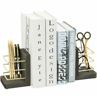 MyGift Set of 2 Vintage Gray Wood and Brass Wire Bookends with Storage Bins