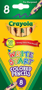 Crayola Write Start Hexagonal  Colored Pencil Set, Extra Thick Tip, Assorted