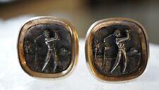 Vintage Goldtone Enamel Golfer Cufflinks