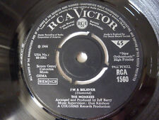"""THE MONKEES ~ I'M A BELIEVER ~ ORIGINAL 1966 RCA UK 7"""" VINYL SINGLE ~ PLAYS WELL"""