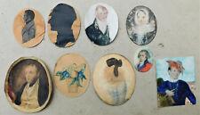 NO RESERVE Portrait Miniature & Silhouette Group Vintage Antique