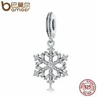 BAMOER 925 Sterling silver charm Crystal snowflake Dangle With CZ For bracelet