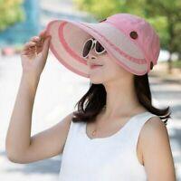 Hat Women Large Wide Brim Floppy Summer Beach Sun Cap Straw Summer Anti UV Visor