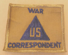 """WWII US ARMY """"US WAR CORRESPONDENT"""" NON-COMBATANT PATCH LIGHT TAN CE BORDER"""