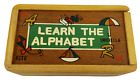"""Vintage 1993 Tiny Tykes """"Learn The Alphabet"""" Wood Wooden Blocks with Wood Case"""