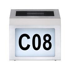 LED Solar Hausnummernleuchte Edelstahl Dämmerungssensor 6500K kalt -- Hausnummer