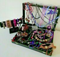 Purple Black Tones Costume Jewellery Necklace Bracelet Bangle Job Lot Bundle