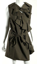 LANVIN Olive Green Cotton Blend Techno Ruffled Front Belted Dress 42