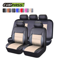 Universal PU Leather Car Seat Covers Beige Black For SUV TRUCK VAN SEDAN Airbag