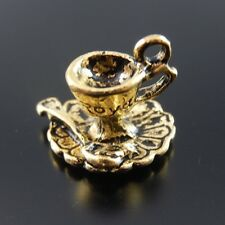 10pcs Antique Gold Alloy Coffe Tea Cup Charm Pendant Finding Clearance Sale