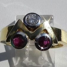 18K Yellow & White  SOLID GOLD Narural RUBY & ROUND DIAMOND RING us Size 7 G SI1