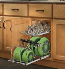 Pull Out 2 Tier Base Cabinet Cookware Organizer Pot Pan Lid Rack Kitchen Storage