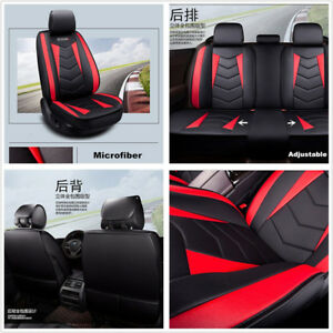 Black+Red PU Leather Luxury Full Surround Car Seat Cover Breathable Front+Rear