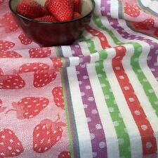 Red Strawberry towel Jacquard Flax Linen Dish Drying Autumn Berry Harvest Decor