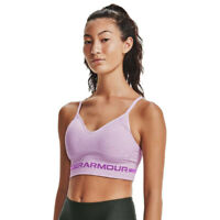 Under Armour Womens Seamless Low Long Heather Sports Support Bra Top Pink Gym