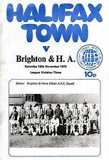 Football Programme>HALIFAX TOWN v BRIGHTON & HOVE ALBION Nov 1975