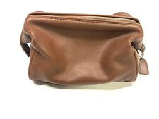 Vtg COACH Men's Brown Leather Toiletry Travel Bag Shave Dopp Case