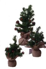 Mini Miniature Pine Christmas Tree Burlap Farm Country Decoration Set of 3 NEW