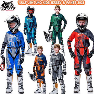 WULF VENTUNO 2021 KIDS MOTOCROSS SUIT JUNIOR MX QUAD KART JERSEY PANTS All Color