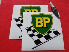 """Pair of  BP Chequered Flag 6"""" stickers"""