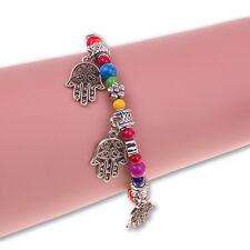 Vinatge Hamsa Fatima Hand Tibetan Silver Colorful Beaded Charm Chain Bracelet
