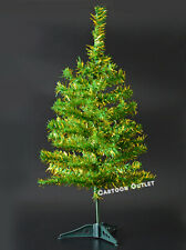 Small Christmas Tree Tinsel Gold Green Artificial 2 Ft Table Top Style Pine