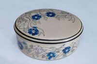 Vintage Hand-Painted Blue Floral Oval Trinket  Dresser Jewellery Box with Lid