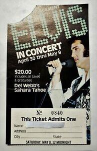 Elvis Presley - May 8, 1976 Ticket Stub - Lake Tahoe - Sahara Tahoe Hotel