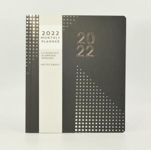 Black/Silver Monthly 2022 Planner, Diary, Organiser, Journal Desktop Calendar