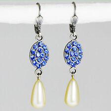 Grevenkämper Ohrringe Swarovski Kristall Oval Perle blau Sapphire Creamrose