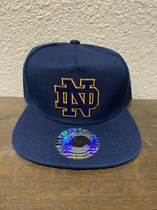 Vintage Notre Dame Fighting Irish Classic ND Logo Snapback Hat Navy Blue NEW NWT