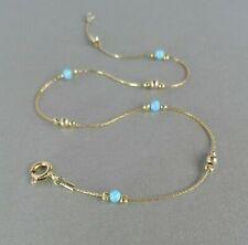"Fußkette Feuer Blau Opal 14k Gold Kette 10"" Knöchel Armband Urlaub Must Have"