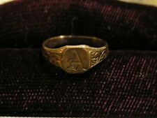 """Antique Victorian 10K Gold Infant's Ring in Lovely Box Monogram """"A"""""""