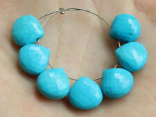 Tibetan Stabilized Turquoise Faceted Heart Briolette Beads (20065)