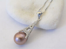 Gorgeous Natural Edison Pink Pearl w/EiffelTower PearlPendant 925 SterlingSilver