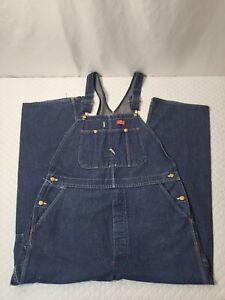 90s Vtg Dickies Denim Overalls Bib Men's Size 40x30 Dark Indigo Wash