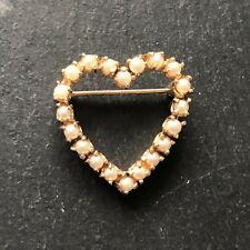 Vintage Pearl Yellow Gold Heart Brooch