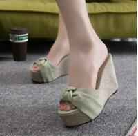 Women's Summer Sandal Shoes Platform High Wedge Heel Open Toe Casual Slippers Sz