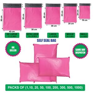 PINK Postal Mailing Bags Postage Coloured Plastic Packaging Parcel Shipping Bags