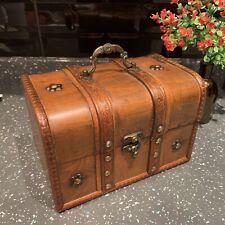 ANTIQUE VINTAGE WOODEN TREASURE CHEST STORAGE BOX JEWELLERY TRINKET KEEPSAKE BOX