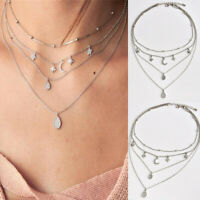 1pcs Women Multilayer Jewelry Choker Pendant Crystal Star Moon Chain Necklace
