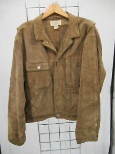 C1369 VTG Polo Ralph Lauren Button Down Suede Leather Jacket Size L